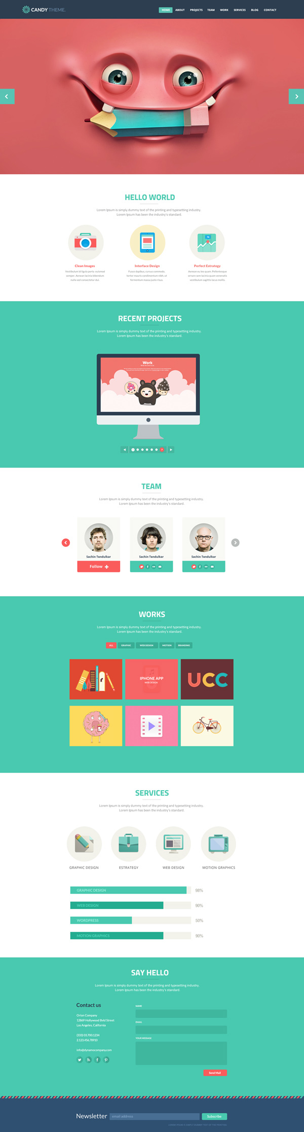 Candy - Flat Onepage Responsive HTML5 Template - 1